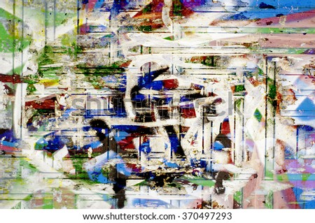 blue stucco with paint - stock photo