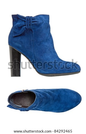 Blue suede female boot, side and top views over white. With clipping path. - stock photo