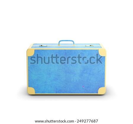 blue suitcase isolated on a white background - stock photo