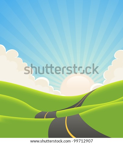 Blue Summer Landscape Road/ Illustration of a cartoon long road snaking inside green hills in spring or summer  landscape - stock photo