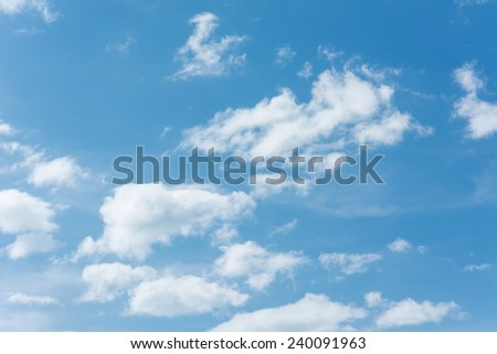Blue Summer Sky with Clouds - stock photo