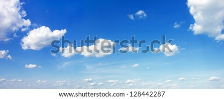 Blue summer sky with clouds background - stock photo