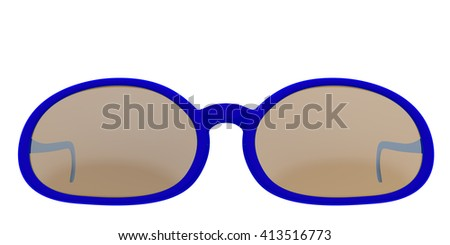 Blue sun glasses isolated on white background. Include clipping path. 3D render - stock photo