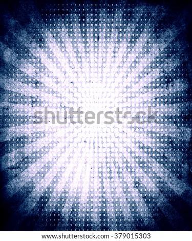 Blue sunbeams grunge vintage background, beautiful retro poster - stock photo