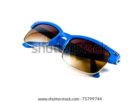 Blue sunglasses isolated on white - stock photo