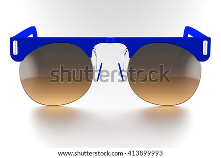 Blue sunglasses isolated on white background. With clipping path. 3D render - stock photo