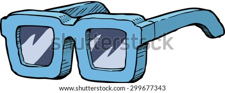 Blue sunglasses on a white background raster version - stock photo