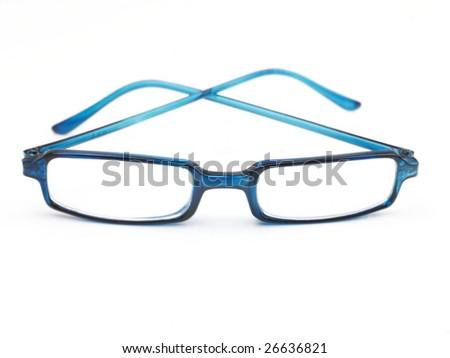 Blue sunglasses on white background - stock photo