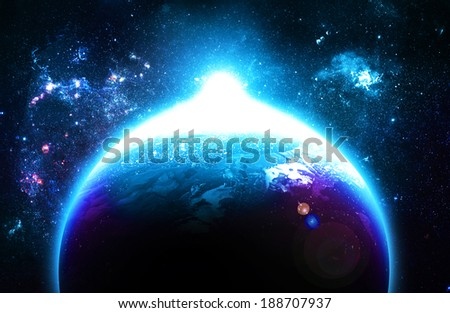 Blue Sunrise Over Planet - Elements of this Image Furnished By NASA - stock photo