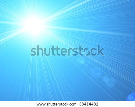 Blue sunshine background - stock photo