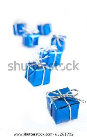 blue surprise boxes on a white background - stock photo