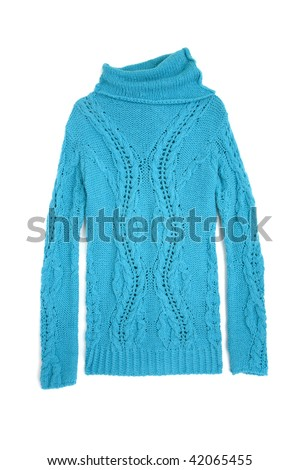 Blue sweater isolated on white - stock photo