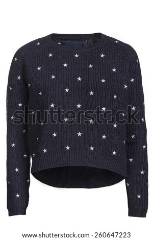blue  sweater with stars isolated on white background - stock photo