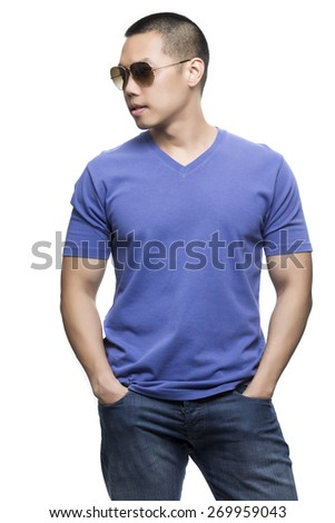Blue t-shirt on a young man isolated on the white background-Studio shot ready for your own graphic. - stock photo