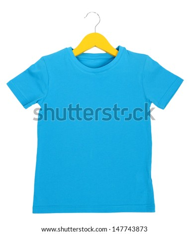 Blue t-shirt on hanger isolated on white - stock photo