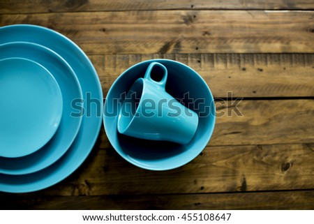 Blue tableware - stock photo
