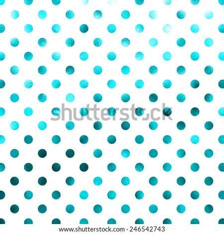 Blue Teal Turquoise White Polka Dot Pattern Swiss Dots Texture Digital Paper Background - stock photo