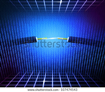 Blue Technical Electricity Background - stock photo