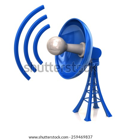 Blue technology satellite dish antenna - stock photo