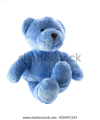 Blue teddy bear against a white background  - stock photo