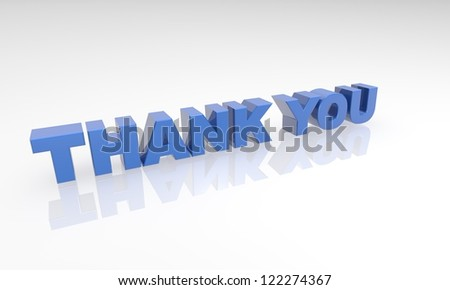 blue thank you 3d letters on a white background with a white reflection. - stock photo