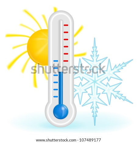 Blue thermometer with sun and snow bitmap copy - stock photo