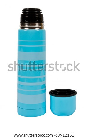 blue thermos with a mug over white - stock photo