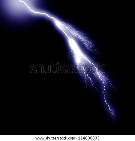 blue thunder on black background - stock photo