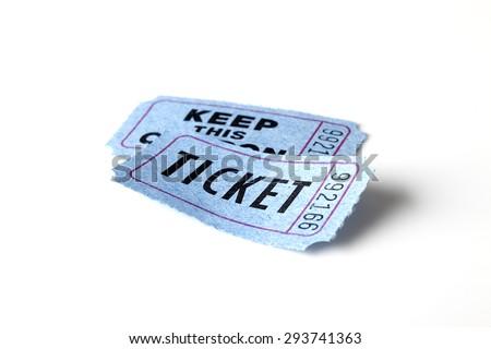 Blue ticket on white background - stock photo