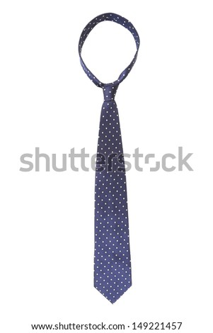Blue tie with white speck. - stock photo