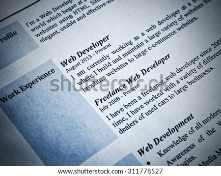 Blue Tint Web Developer Curriculum Vitae Close-Up - stock photo