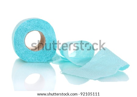 blue toilet paper isolated on white - stock photo