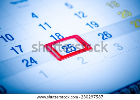 Blue toned calendar page. 25 december - stock photo
