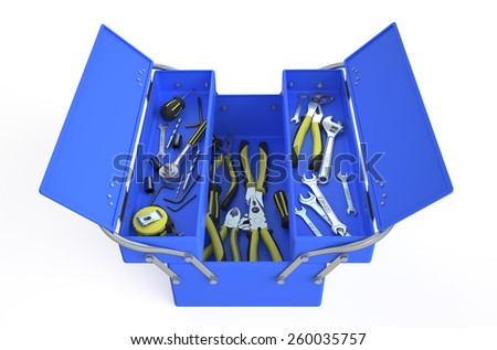 blue tool box isolated on white background - stock photo