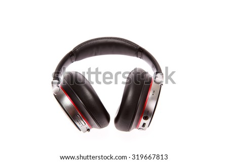 blue-tooth headset black music and phone calls  digital age - stock photo
