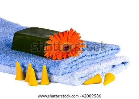 Blue towels, Flower, soap on a white background - stock photo