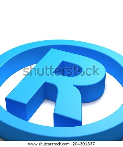 Blue trademark symbol seen close up, white background - stock photo