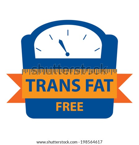 Blue Trans Fat Free Bathroom Weight Scale Icon, Sign or Label Isolated on White Background - stock photo