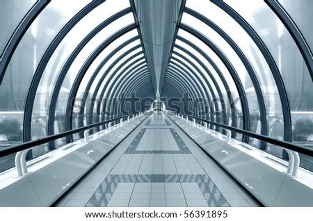 blue transparent hallway - stock photo