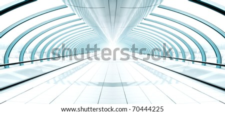 blue transparent hallway - stock photo