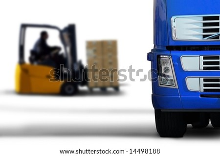 blue transport - stock photo