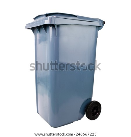blue trash container isolated on white - stock photo