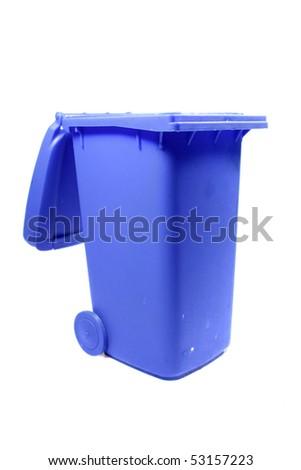 blue trashcan on white background - stock photo