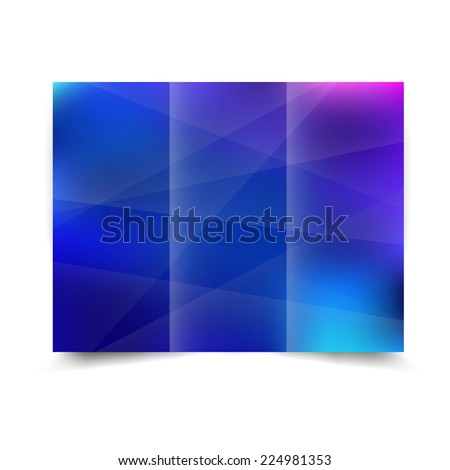 Blue tri-fold brochure design template with abstract background. Tri-Fold Mock up & back Brochure Design - stock photo