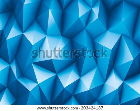Blue triangles background - stock photo