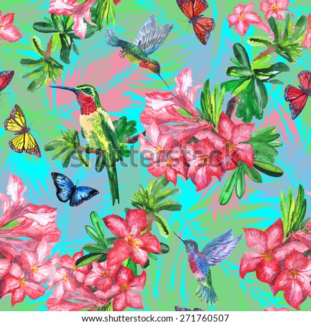 blue tropical pattern with exotic blooming flowers, flying paradise birds and colorful tropical butterflies. hummingbirds and rhododendron - stock photo