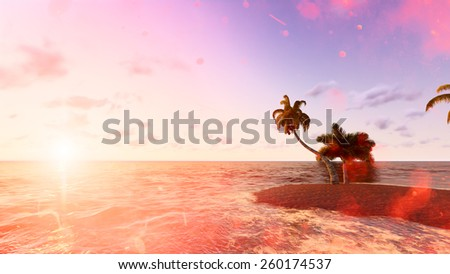 Blue tropical sea. Raster. 4 Raster.  - stock photo
