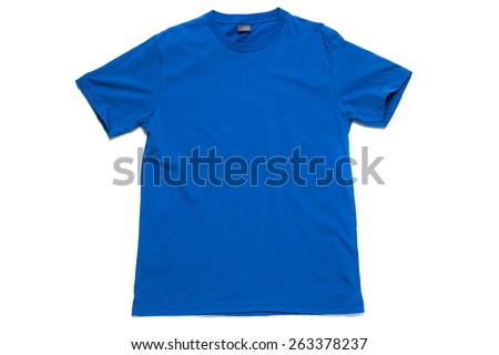Blue tshirt template ready for your own graphics on white background. - stock photo