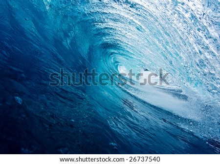 Blue Tube, Epic Surfing Wave - stock photo