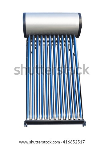 Blue tubes of solar water heater over white background - stock photo